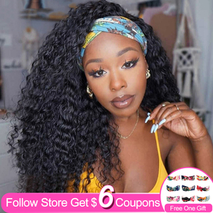 Headband Wig Human Hair Wigs For Black Women Deep Wave 26 Inch Brazilian Machine Made Remy Natural Color Hair 150% Density