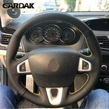 CARDAK czarna sztuczna skóra pokrywa kierownicy dla Renault Megane 3 2009-2014 Scenic 2010-2015 Fluence ZE 2009-2016