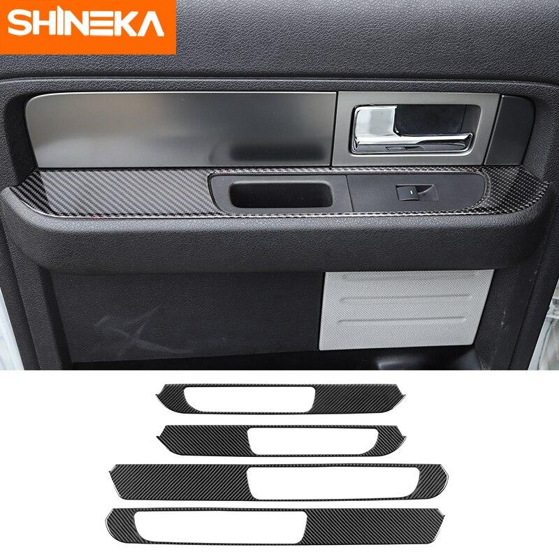 Pegatinas de fibra de carbono para Ford F150, pegatinas de decoración para Reposabrazos de puerta Interior de coche, accesorios para Ford F150 Raptor 2009-2014