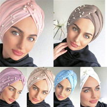 2020 women stretch cotton turban Caps India hat female head Wraps islamic headscarf bonnet  pearls turban hijab muslim turbantes