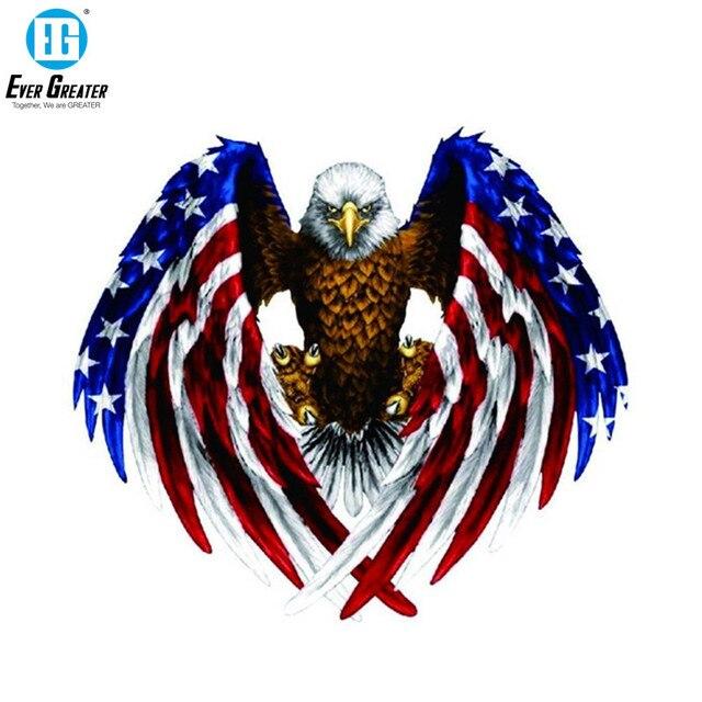 19CM * 17CM 미국 대머리 독수리 깃발 자동차 스티커 및 데칼 PVC