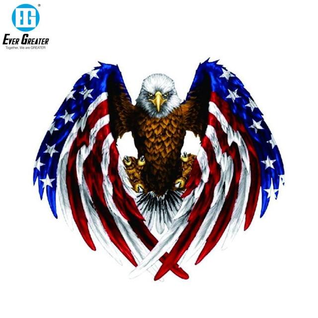 19CM*17CM USA Bald Eagle Flag Car Sticker and Decal PVC