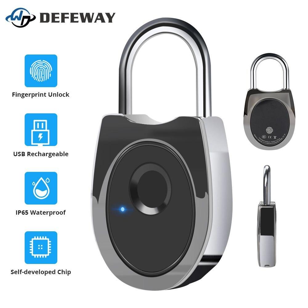 USB Rechargeable Smart Fingerprint Lock Keyless IP65 Waterproof Anti-Theft Digital Padlock Footprint Luggage Case Door Lock New