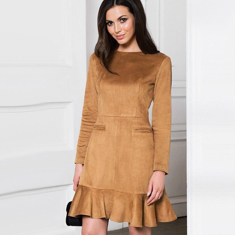 Autumn Winter Women Ruffles Dress Casual Ladies O Neck Long Sleeve Elegant Party Dress 2019 Vintage Women Sheath Mini Dresses