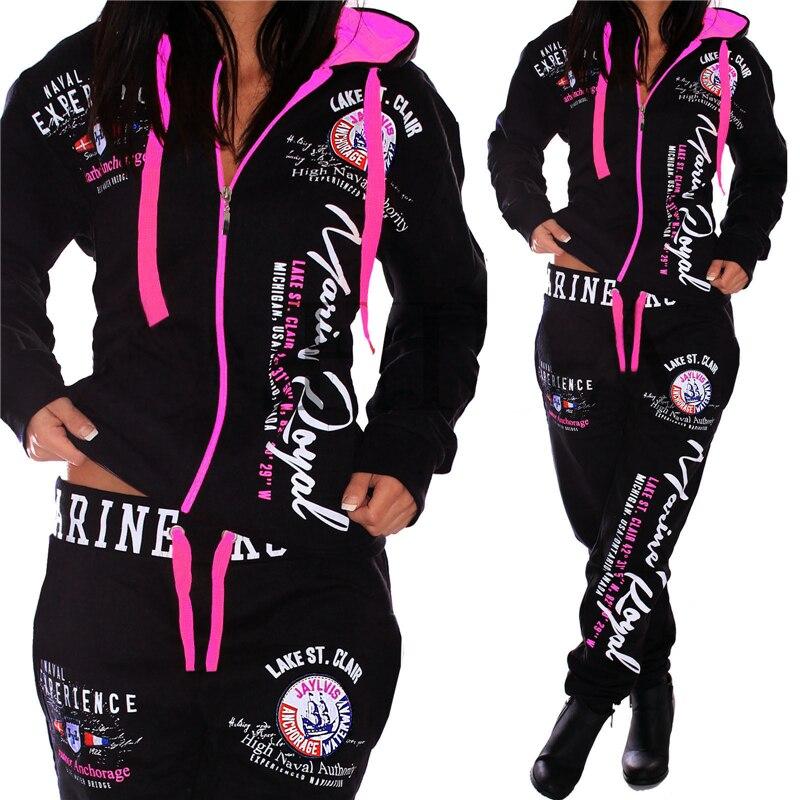 marca feminina casual sportwear moletom com capuz e calças terno feminino