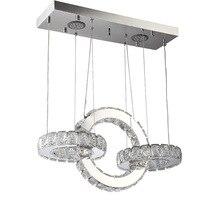 цена K9 Crystal LED Pendant Lamp Round Circle Modern Suspension Lighting Fixture Crystal Lamp for Home Store Dining Room Decoration онлайн в 2017 году