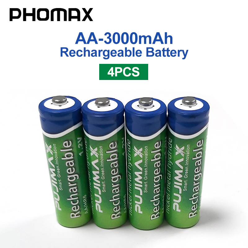 PHOMAX 4pcs/batch 1.2V AA Rechargeable Battery Radio Camera 3000mAh Pre-charged NiMH Batteri For Calculator Electronic Toy