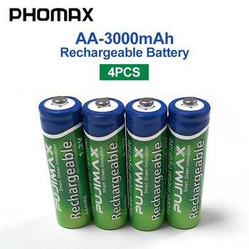 цена на PHOMAX 4pcs/batch 1.2V AA rechargeable battery radio camera 3000mAh pre-charged NiMH batteri for calculator electronic toy