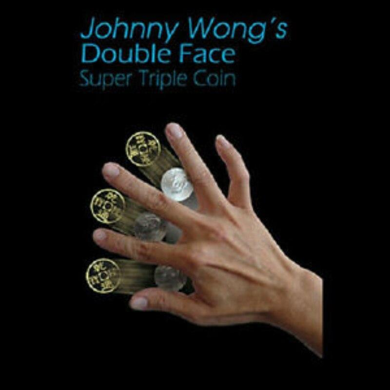Double Face Super Triple Coin (Half Dollar Or Morgan Dollar) By Johnny Wong Coin Magic Tricks Classic Magic Props Gimmick Fun