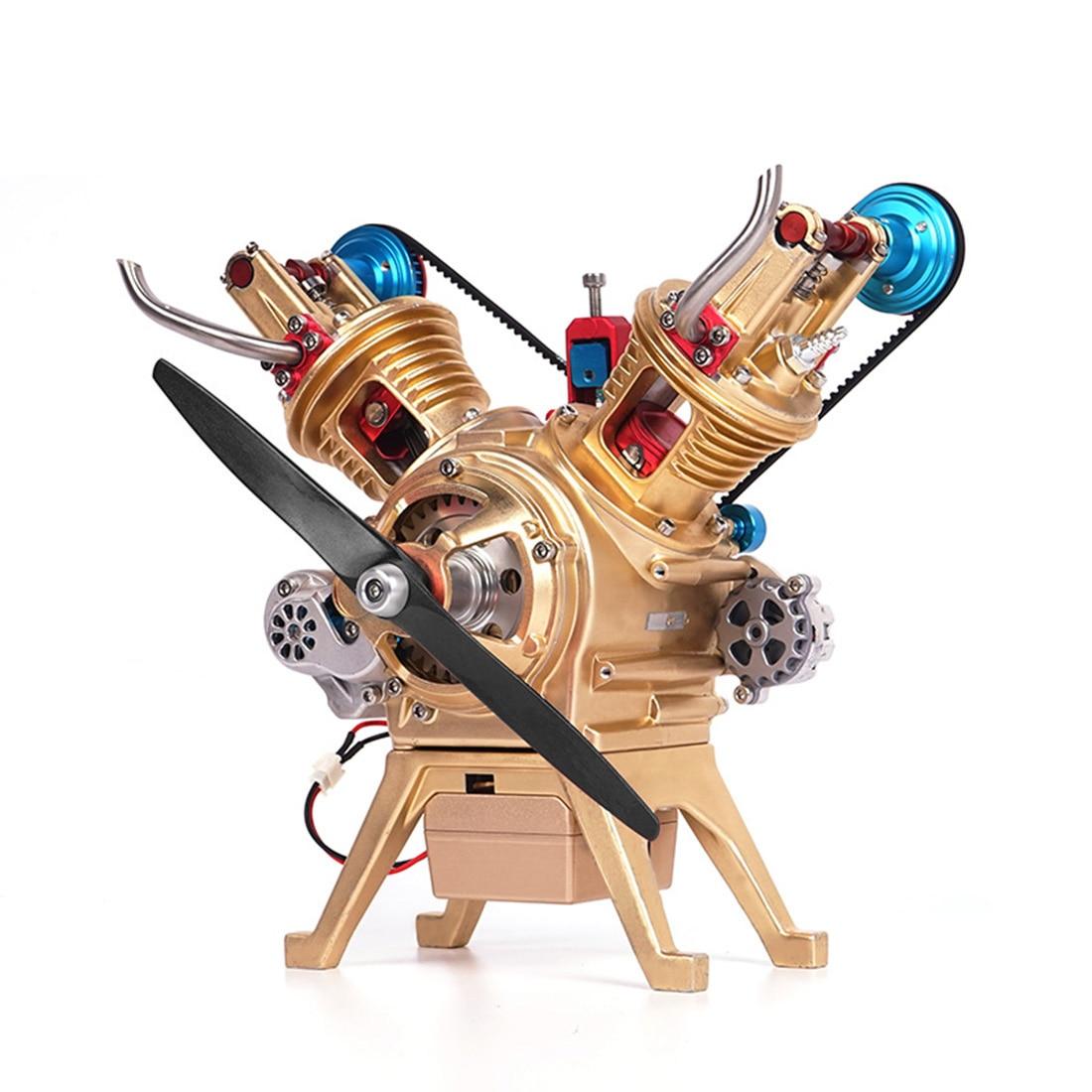 Voiture tout métal Mini assemblage manuel V2 Double cylindre moteur modèle jouet décoration (certaines pièces couleur aléatoire)