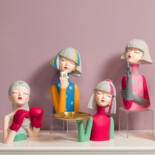 Nordic Home Decoration Accessories Creative Resin Girl Sculpture Ornaments Living Room Desktop Statue Crafts Gift for Girlfriend