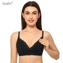 Gratlin wirefree amamentação maternidade sutiã de algodão roupas de amamentação sutiã para grávidas