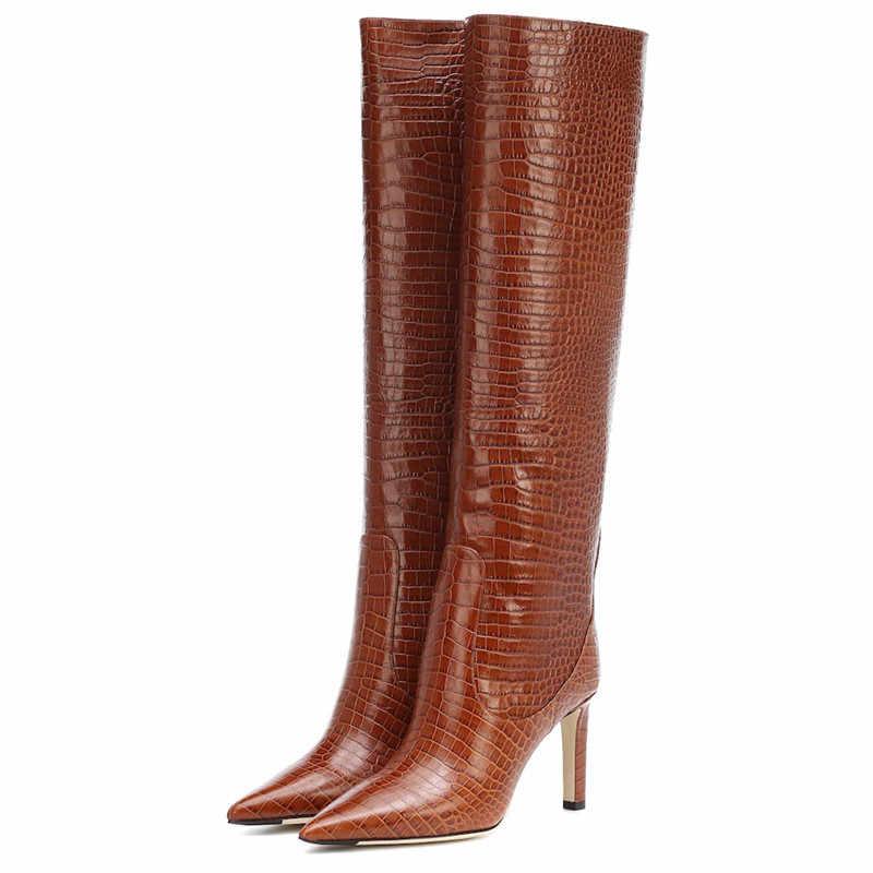 COCOAFOAL moda seksi kadın yüksek topuk diz yüksek çizmeler kadın orta buzağı ayakkabı orta buzağı çizmeler sivri burun ayak düz çizmeler siyah