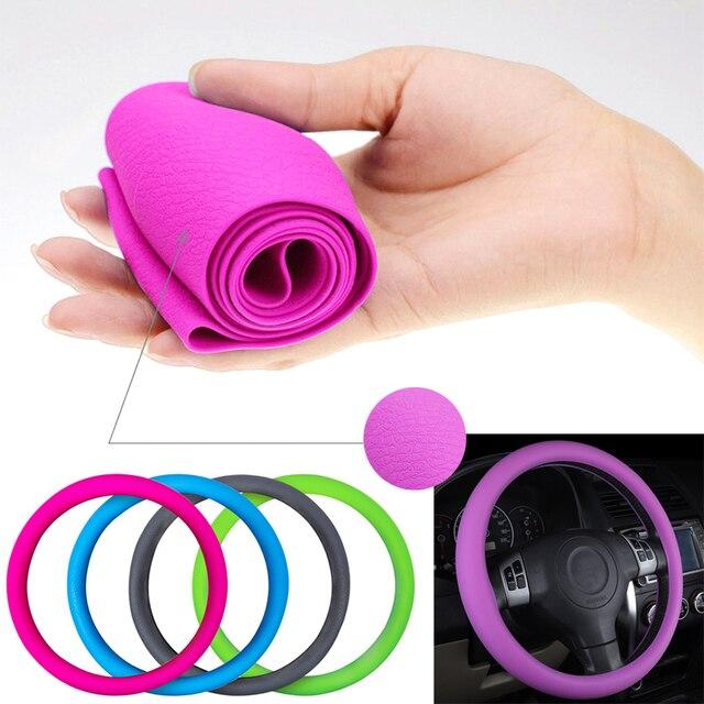 Car Styling coprivolante universale in Silicone per auto coprivolante Texture accessori per volante in Silicone morbido multicolore morbido