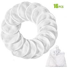 16PCS Reusable Round Bamboo Makeup Remover Pads Washable Eyeshow Nail Art Pad With Drawstring Storage Bag Cleaning
