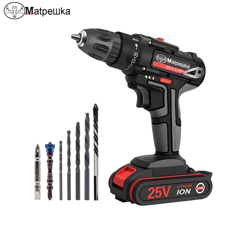 <font><b>25V</b></font> Cordless Electric Screwdriver Household Electric Drill Handheld Rechargeable lithium Drill Electric tool +7 Drill image