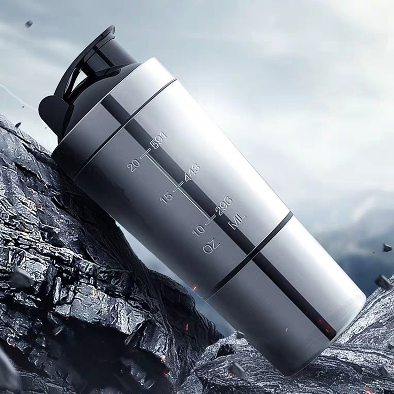 2020 New Stainless Steel Cup Vacuum Mixer Outdoor Drink 26OZ Kettle Detachable Whey Protein Powder Sports Shake Bottle