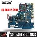 NM-A751 Материнская плата ноутбука para lenovo 310-15ISK 510-15ISK Оригинал 4G-RAM I7-6500U GT920MX