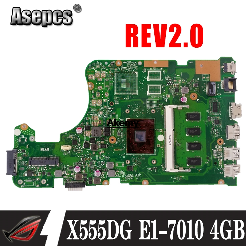 SAMXINNO X555DG REV2.0 motherboard For ASUS X555YI X555YA X555Y X555D A555D laptop motherboard E1 7010  4GB GM Test work 100%|Motherboards| |  - title=