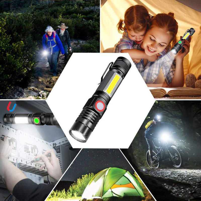 "5"" Waterproof Lantern Zoom Portable XML T6 COB Flashlight Rechargeable USB LED Mini Light Torch Aluminum Built-in 18650 Battery"