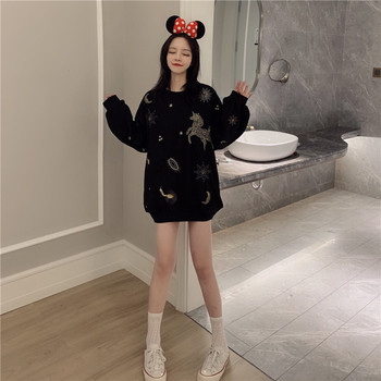 2009 New Kind of Sanitary Wardrobe Women Qiuhan Ins Loose Girls Thin Unicorn Coat Ladies Pullovers