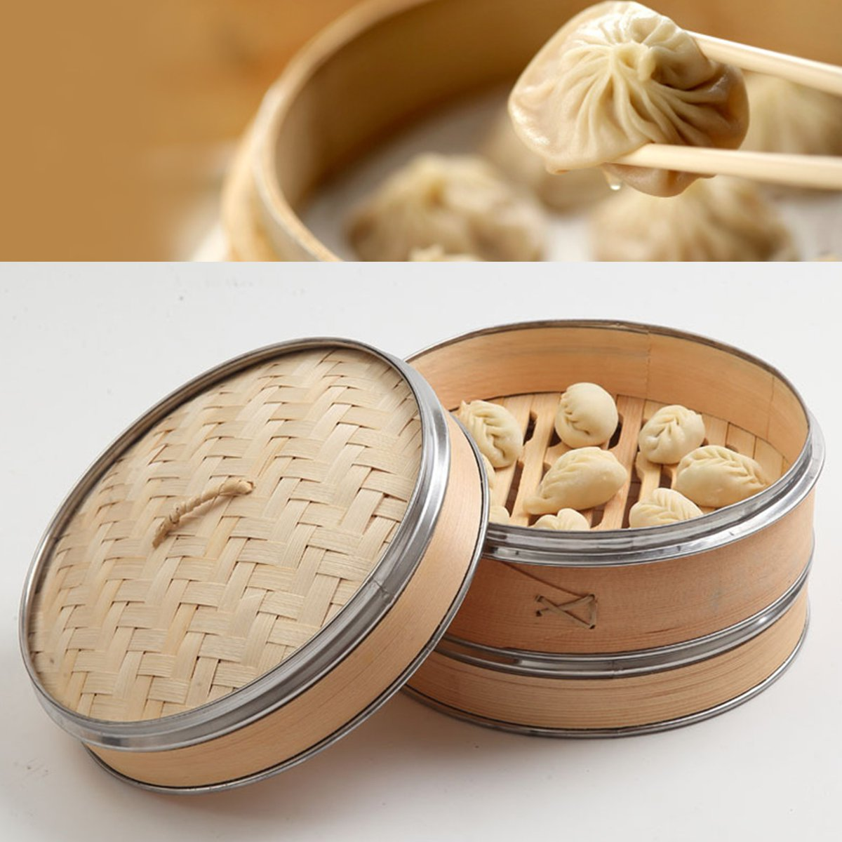 2 Tier 1 Cover Natural Bamboo Steamer Fish Rice Vegetable Snack Basket Set Kitchen Cooking Tools Dumpling Steamer Steam Pot 25cm