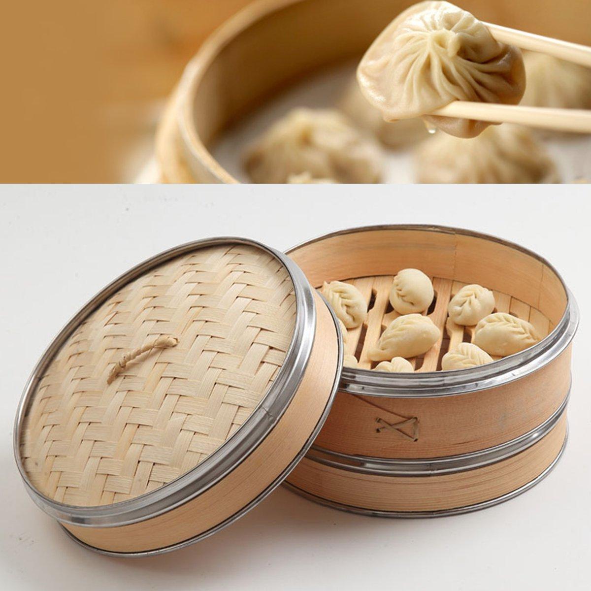 2 niveles 1 cubierta de vaporizador de bambú Natural de pescado, arroz, cesta de aperitivos, juego de utensilios de cocina, utensilios de cocina, vaporizador de vapor 25cm