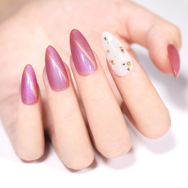 LILYCUTE 7ml 9D Pink Purple Glass Cat Eye Nail Gel