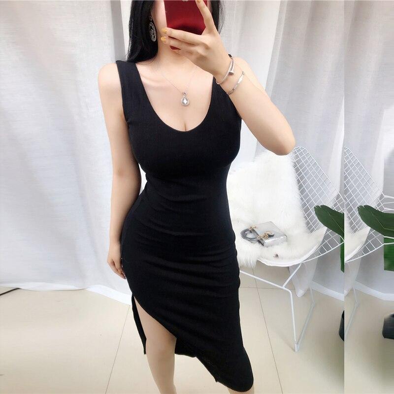 Knee Length Dress Knitted Elastic Sleeveless Bodycon