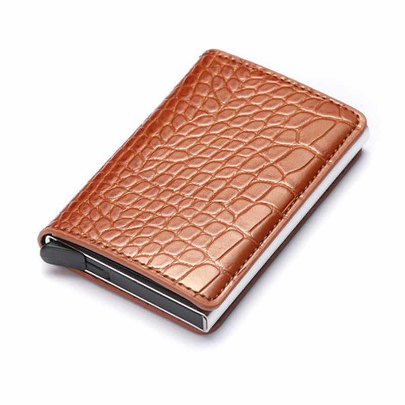 Bisi Goro Anti-Dief Mannen En Vrouwen Credit Card Holder Rfid Blocking Metalen Aluminium Doos Lederen Bedrijf Kaarthouder Id card Case