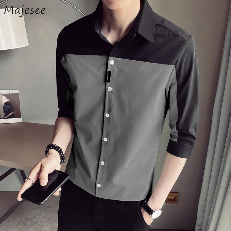 Men Shirts Summer Button Shirt Three Quarter Sleeves Patchwork Casual Slim Fit Mens Elegant High Quality Fashion Korean Style