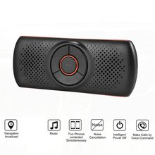 цена на T826 Bluetooth Handsfree Car Kit Car SpeakerphoneTF Music MP3 Player Connect Phones Speaker Sun Visor Clip Speakerphone