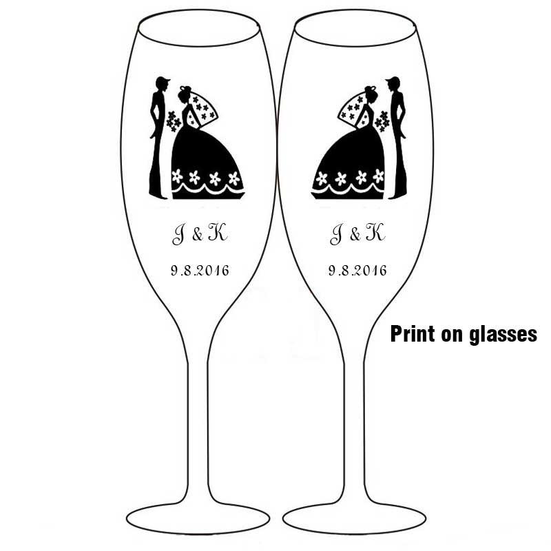 2 шт Свадебные бокалы es персонализированные флейты для шампанского Хрустальные Вечерние бокалы в подарок для тостов хрустальные бокалы с гравировкой на годовщину H1043 - Цвет: Print on glasses