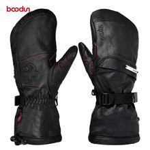 Мужские и женские лыжные перчатки из натуральной кожи с портативным