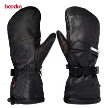Men Women Genuine Leather Ski Gloves with Portable Pocket Touch Screen Waterproof Warm Outdoor Sports Snowboard Skiing Gloves
