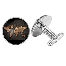 2019 New World Europe and America Map Cufflinks Gothic Glass Convex Round Mens To Send Gift Jewelry