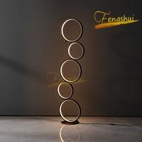 Minimalista e moderno led anel luzes de assoalho iluminação arte deco casa interruptor toque lâmpada pé para sala estar luminarie