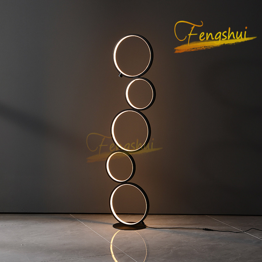Modern Minimalist LED Ring Floor Lights Lighting Art Deco Home Floor Lights Touch Switch Standing Lamp For Living Room Luminarie