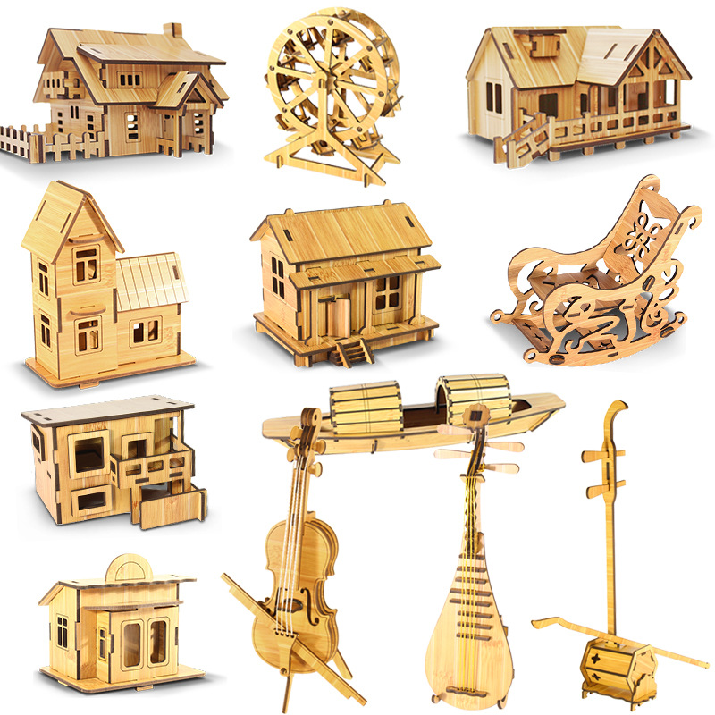 Laser Cutting 3D Wooden Bamboo Puzzle Ship Ferris Wheel DIY Model Assembly Wood Craft Kits Desk Decoration For Christmas Gift