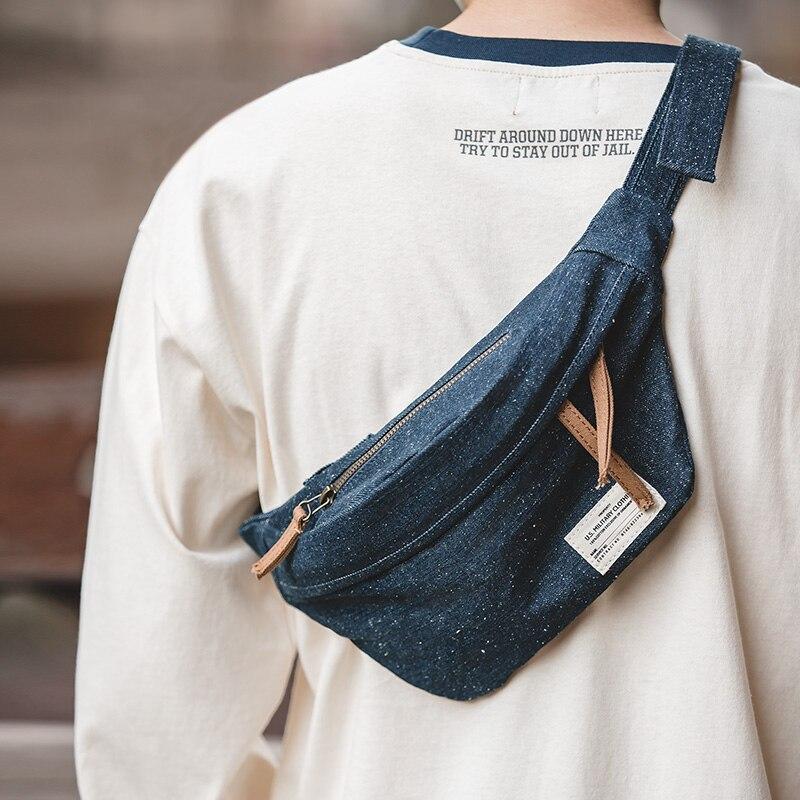Maden Men Women Unisex Denim Fanny Pack Waist Bag Belt Bag Chest Shoulder Bag Mobile Phone Zipper Pouch