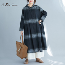 BelineRosa Autumn Style Loose Long Striped Blouse Plus Size Women Clothing Feminine Blouses JXFS0013