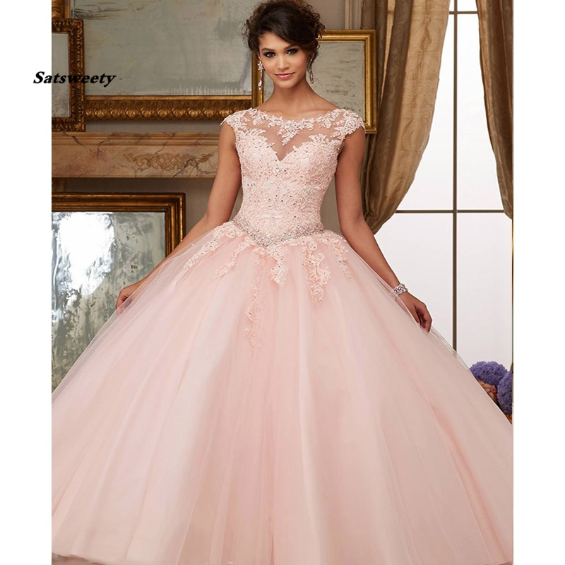 Puffy Peach Cheap Quinceanera <font><b>Dresses</b></font> Ball Gown Cap Sleeves Tulle Appliques Lace Crystals <font><b>Sweet</b></font> <font><b>16</b></font> <font><b>Dresses</b></font> image