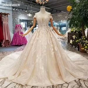 Image 1 - LSS083 เงาลูกไม้Blingแต่งงานปิดชุดไหล่sweetheartยาวvestido de novia Para Boda Civil corto
