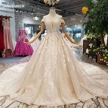 LSS083 błyszczące koronkowe bling suknie ślubne off the shoulder sweetheart długi pociąg vestido de novia para boda civil corto