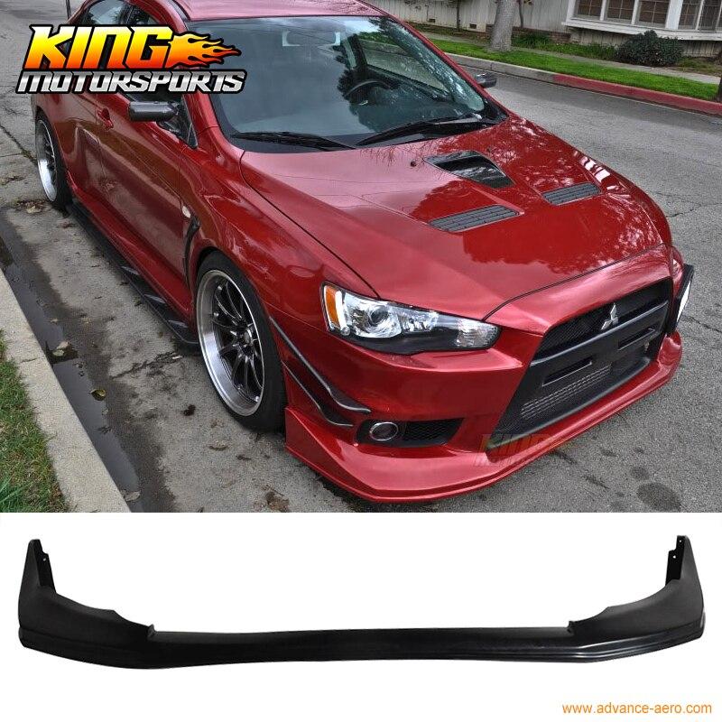Voltex Style Front Bumper Lip Urethane Fits 08-15 Mitsubishi EVO 10