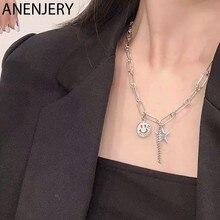 ANENJERY 925 ayar gümüş yıldız gülen yüz zincir püskül kolye kadınlar için Vintage el yapımı takı collares S-N517