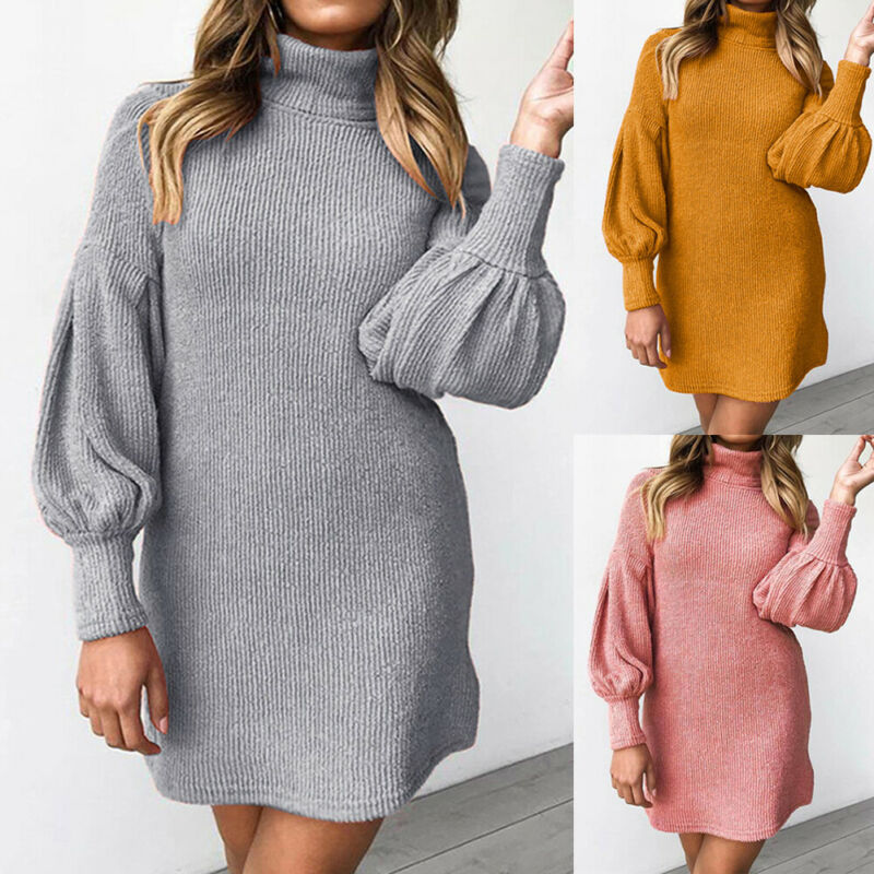 3 Colors Newest Arrivals Womens Autumn Winter <font><b>Turtle</b></font> <font><b>Neck</b></font> Long Sleeve <font><b>Dress</b></font> Female Ladies Casual Loose Solid Color Pullover image
