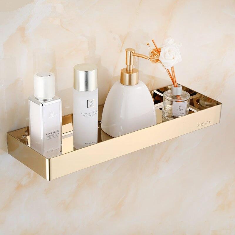 Étagère de salle de bain acier inoxydable or | Étagère d'angle de douche carrée étagère de bain-douche, support de rangement noir sans clou
