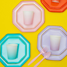 40*PCS Solid Color Disposable Tableware Dishes Kids Holiday Party Baby Shower Supplies,Plate+Paper Cup+Fork+Spoon