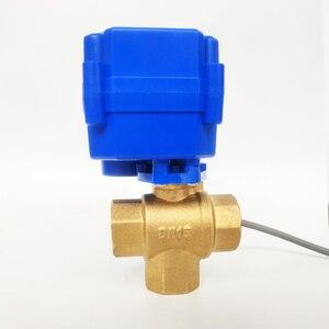 """Image 2 - 1/2 """"elektro Ventil 3 weg T port, DC12V Motorisierte ventil 3 drähte (CR02), DN15 Mini elektrische ventil für flüssigkeit richtung regulierung"""